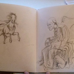 Sketches of statues