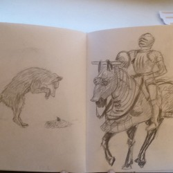 Sketch of a knight and fox - museum in Berlin
