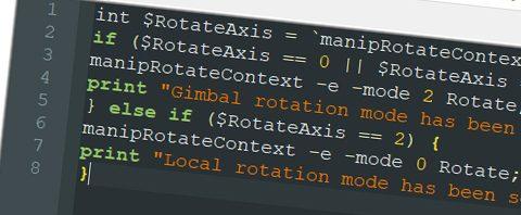 rotate mode script maya
