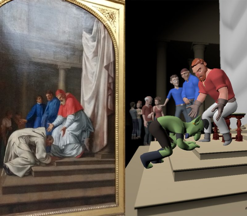 Eustache Le Sueuer's Saint Bruno at the feet of Pope Urban II (painting left - 3d image right)