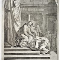 Drawing of Saint Bruno at the feet of Pope Urban II